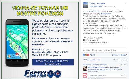 Central de Fretes e Receptivo e o Pokémon GO